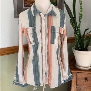 Olive + Oak gauze striped button down shirt M